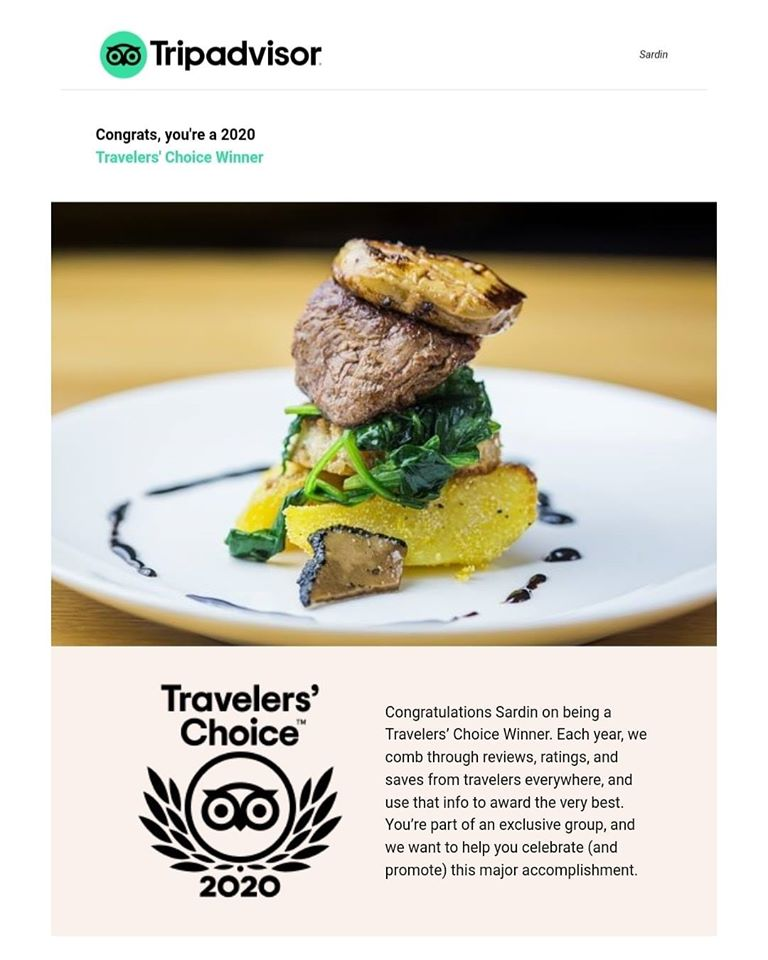 TRAVELLERS' CHOICE 2020 WINNER